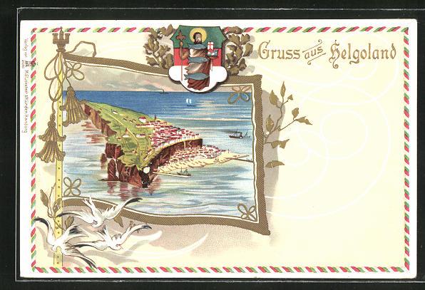 Passepartout-Präge-Lithographie Helgoland, Ortsansicht mit Wappen