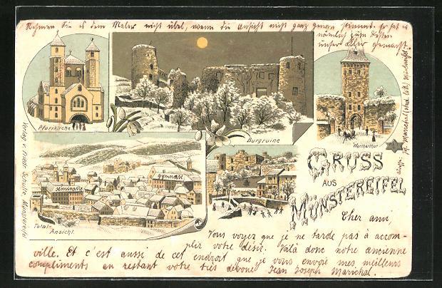 Winter-Lithographie Münstertal, Totalansicht, Pfarrkirche, Burgruine, Wertherthor