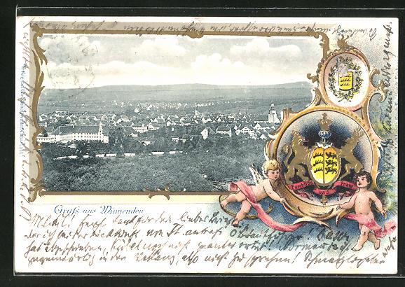 Passepartout-Präge-Lithographie Winnenden, Ortsansicht mit Wappen
