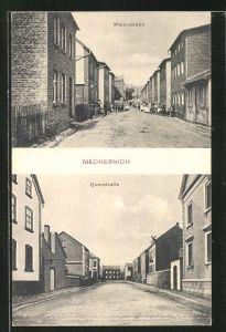 AK Mechernich, Weierstrasse mit Passanten, Querstrasse mit Wohnhäusern
