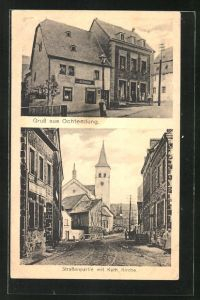 AK Ochtendung, Ortspartie mit Blick zur kathol. Kirche, Geschäftshaus von Jos. Diedenhofen