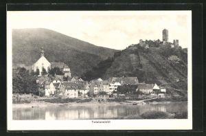 AK Beilstein / Mosel, Totalansicht vom Flussufer aus gesehen