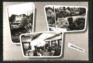 AK Sinspelt / Eifel, Hotel W. Altringer, Aussenansicht, Speiseraum und Garten mit Liegestühlen