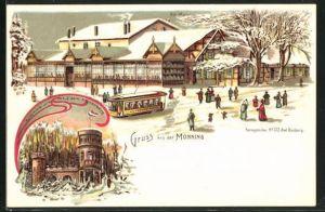 Winter-Lithographie Duisburg, Gasthaus Monning, Aussichtsturm auf dem Kaiserberg