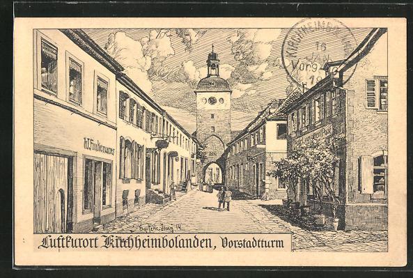 Künstler-AK Eugen Felle: Kirchheimbolanden, Strassenpartie am Vorstadtturm