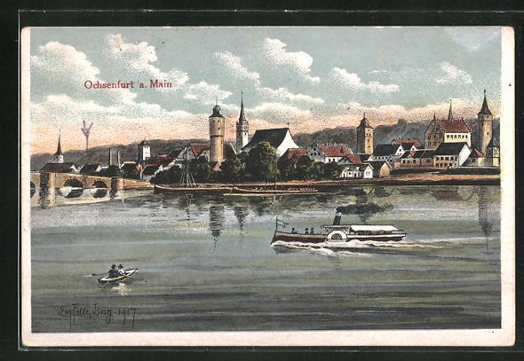 Künstler-AK Eugen Felle: Ochsenfurt a. Main, Dampfer auf dem Main, Teilansicht der Stadt