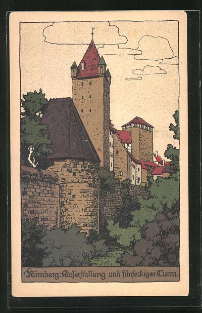 Steindruck-AK Nürnberg, Kaiserstallung und fünfeckiger Turm