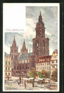 Künstler-AK Karl Mutter: Heilbronn, Marktstände vor der Kilianskirche