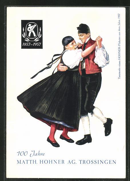 AK Trossingen, 100 Jahre Matth. Hohner AG, Tanzendes Paar Mundharmonika