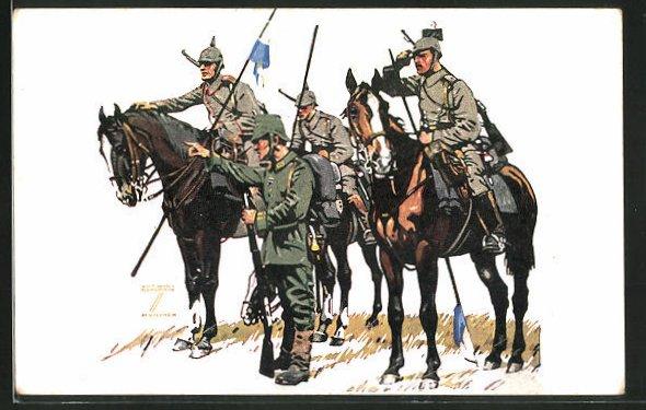 Künstler-AK Ludwig Hohlwein: Bayerische Kavallerie-Division im Felde