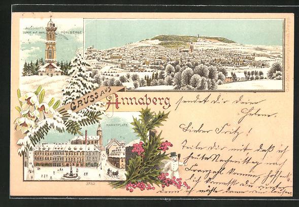 Winter-Lithographie Annaberg, Marktplatz mit Denkmal und Pferdeschlitten, Aussichtsturm auf dem Pöhlberg