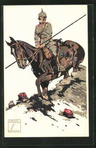 Künstler-AK Ludwig Hohlwein: Soldat der Kavallerie auf seinem Pferd mit Lanze