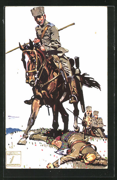 Künstler-AK Ludwig Hohlwein: Soldaten der Kavallerie im Gefecht