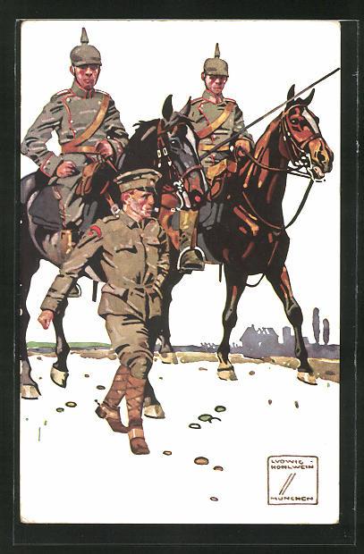 Künstler-AK Ludwig Hohlwein: Soldaten der Kavallerie auf dem Marsch