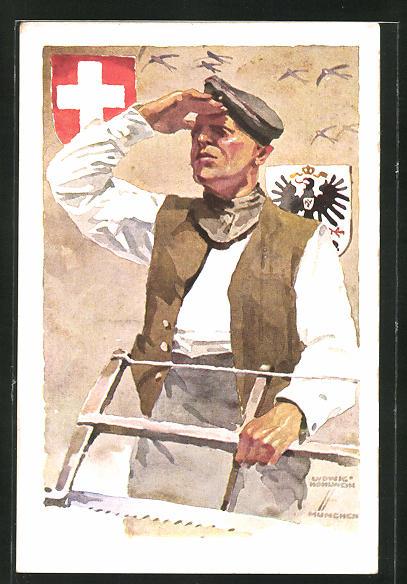 Künstler-AK Ludwig Hohlwein: München, Deutsche Internierten-Ausstellung 1918, Handwerker hält Ausschau, Wappen