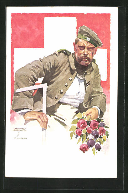 Künstler-AK Ludwig Hohlwein: München, Deutsche Internierten-Ausstellung 1918, Soldat mit Blumen