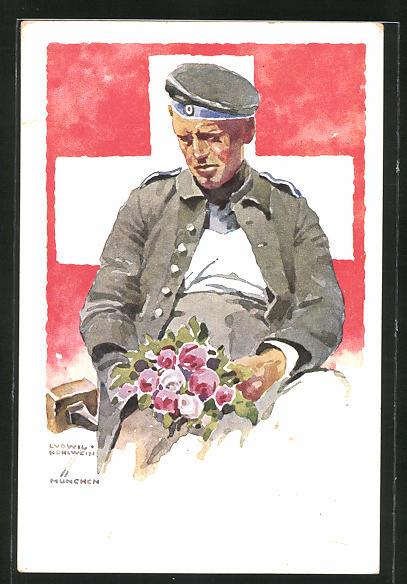 Künstler-AK Ludwig Hohlwein: München, Deutsche Internierten-Ausstellung 1918, Soldat hält einen Strauss Blumen