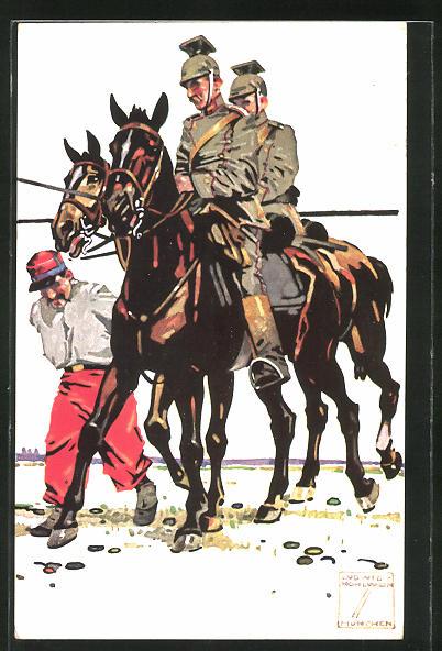 Künstler-AK Ludwig Hohlwein: Dragoner auf ihren Pferden geleiten einen französischen Kriegsgefangenen