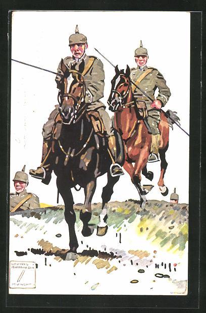 Künstler-AK Ludwig Hohlwein: Soldaten der Kavallerie mit ihren Pferden auf dem Marsch