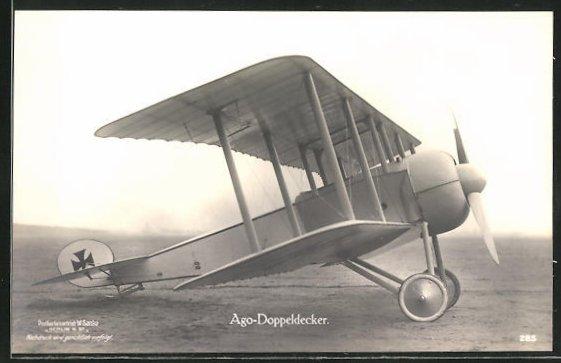Foto-AK Sanke Nr. 285: Ago-Doppeldecker-Flugzeug auf der Startpiste