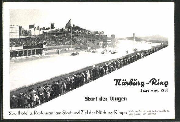 AK Autorennstrecke Nürburg-Ring, Start der Wagen, Sporthotel am Start und Ziel