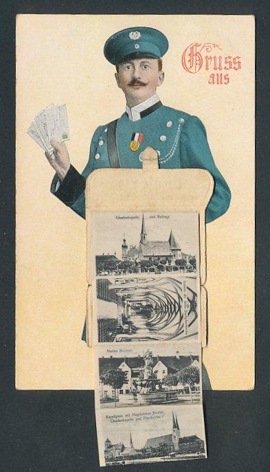 Leporello-AK Altötting, Briefträger mit Tasche voller Ansichten, Gnadenkapelle, Rathaus