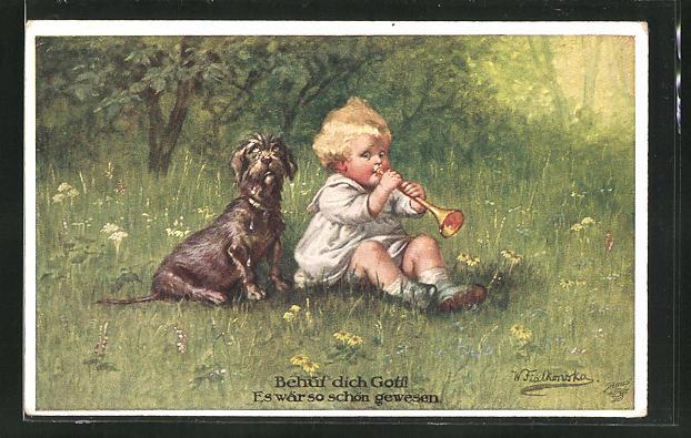 Künstler-AK Wally Fialkowska: Hund lauscht dem Kind mit der kleinen Trompete
