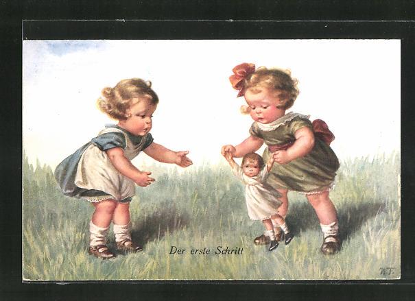 Künstler-AK Wally Fialkowska: Mädchen spielen mit einer Puppe auf der Wiese