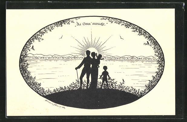 Künstler-AK Elsbeth Forck: Familie beobachtet den Sonnenaufgang