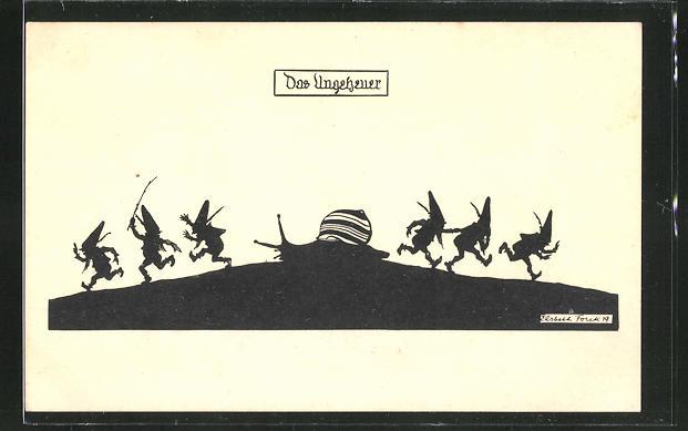 Künstler-AK Elsbeth Forck: Zwerge fliehen vor einer Schnecke,