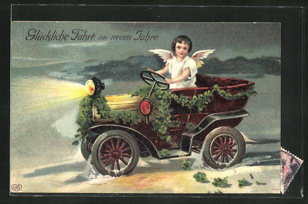 AK Neujahrsengel fährt mit dem Auto durch die Nacht, Glückliche Fahrt im neuen Jahre