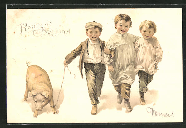 Lithographie Knaben mit einem Schwein, Neujahrsgruss