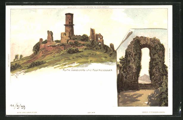 Künstler-AK Carl Biese: Ruine Godesberg und Rolandsbogen