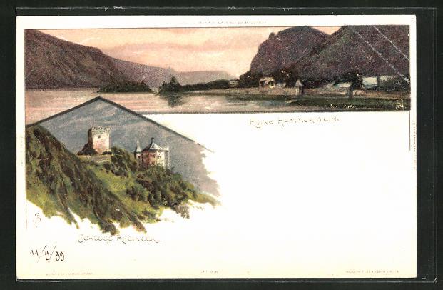Künstler-AK Carl Biese: Schloss Rheineck, Ruine Hammerstein im Abendlicht