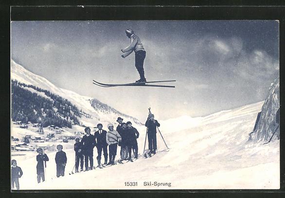 AK Skispringer und Zuschauer