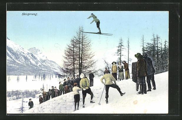 AK Skispringer segelt Talwärts