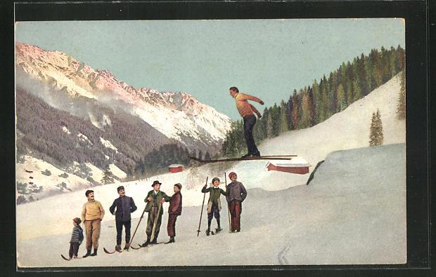 AK Skispringer beim Absprung und Zuschauer