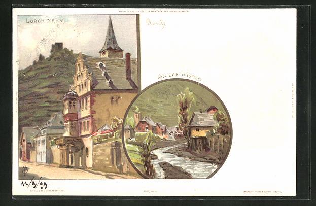 Künstler-AK Carl Biese: Lorch a. Rh., An der Wisper, Alte Strasse