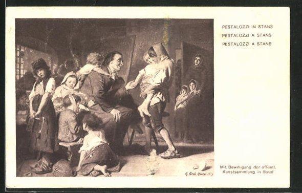 AK Schweizer Bundesfeier 1914, Pestalozzi mit Kindern in Stans