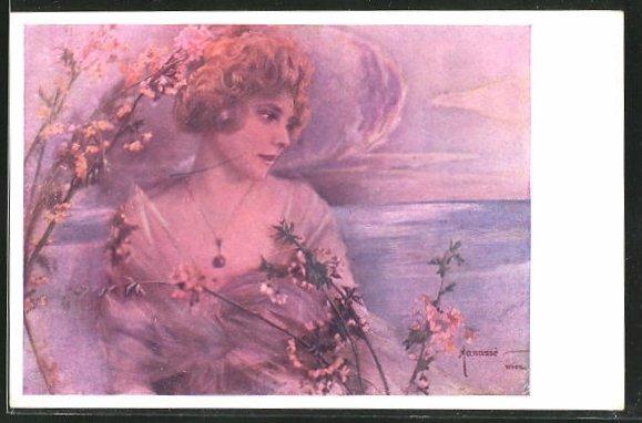 Künstler-AK Manasse: Schöne Frau im rötlichen Licht und blühende Zweige
