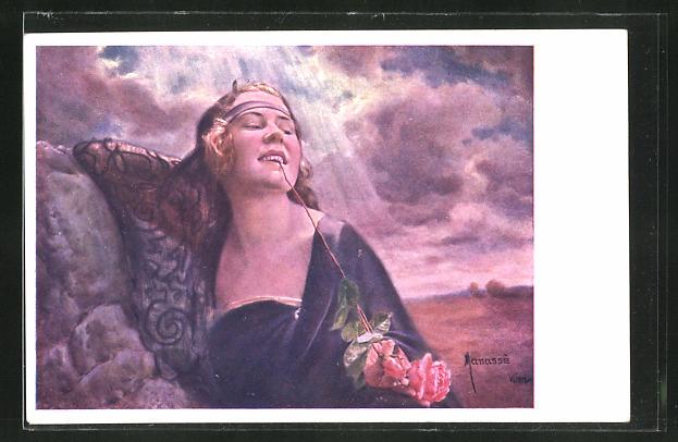 Künstler-AK Manasse: Schöne Frau mit Rose zwischen den Lippen