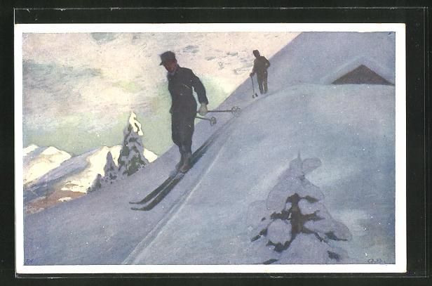 Künstler-AK Otto Barth: Skifahrer bei der Abfahrt