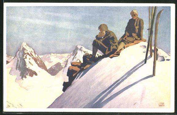 Künstler-AK Otto Barth: Skifahrer im Sonnenlicht auf einem Berggipfel