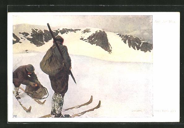 Künstler-AK Otto Barth: Skifahrer auf der Rax bei einer kurzen Rast