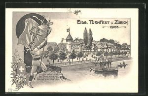 AK Zürich, Eidg. Turnfest 1903, Festhalle, Turner mit Siegeslorbeer
