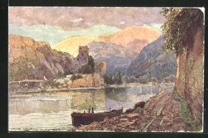 Künstler-AK Fritz Lach: St. Michael a. Donau, Ruine von der Donau betrachtet