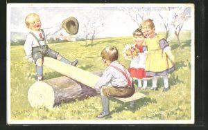 Künstler-AK Karl Feiertag: Kinder auf der Wippe