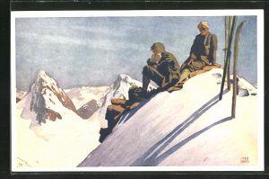 Künstler-AK Otto Barth: Skiläufer auf sonnigem Berggipfel