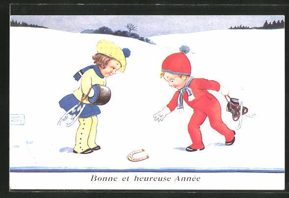 Künstler-AK John Wills: Junge und Mädchen mit Schlittschuhen finden ein Hufeisen im Schnee