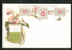 AK Canton de Vaud, Les premiers Timbres Poste de la Suisse, Briefmarken und Wappen